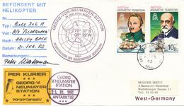 BRITISH ANTARCTIC TERRITORY -  1982 ,  Georg-von-Naeumayer-Station  - Befördert Mit Helikopter Und Kurier - Storia Postale