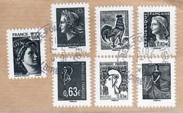 YT AA 914(1)-915-916-917-918-919-921-Les Visages De La 5ème Republique Oblitérés Autoadhésifs Sur Fragment-cachets Ronds - France