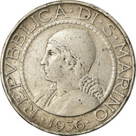 Monnaie, San Marino, 5 Lire, 1936, Rome, TB+, Argent, KM:9 - San Marino