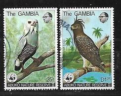GAMBIA 1978 ABUKO NATURE RESERVE WWF HAWK & BUZZARD BIRDS PAIR - Gambia (1965-...)