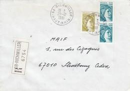 Env Reco Affr Y&T 1974 + 2123 X 2 Obl RICHWILLER Du 29.12.1981 Adressée à Strasbourg - Alsace Lorraine