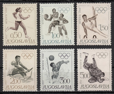 Yugoslavia 1968 Summer Olympic Games Mexico Athletics Basketball Gymnastic Rowing Water Polo Wrestling, Set MNH - Summer 1968: Mexico City