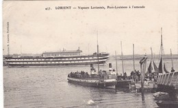 56. LORIENT. CPA . VAPEURS LORIENTAIS. PORT LOUISIENS A L'ESTACADE. + TEXTE ANNEE 1924 - Lorient