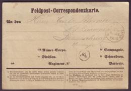 """AISNE - CK De CHARLY , Tàd """"KPR FELD-POST-EXPED / 20 Inf Div"""" (19-10-1870), Franchise Militaire -> Braunschweig (Allemag - War 1870"""