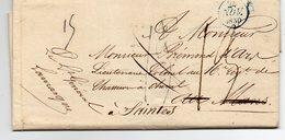 """FRANCE : DE PARIS POUR LE MANS . AU VERSO """" DEB 71 LE MANS """" . REEXPEDIEE A SAINTES . DIVERSES TAXES . 1830 . - Storia Postale"""