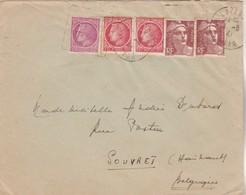 Affranchissement Composé Gandon Mazelin Lettre Cachet Flamme Daguin LE LAVANDOU Var 1947 Pour Souvret Belgique - Poststempel (Briefe)