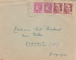Affranchissement Composé Gandon Mazelin Lettre Cachet Flamme Daguin LE LAVANDOU Var 30/7/1947 Pour Souvret Belgique - Poststempel (Briefe)