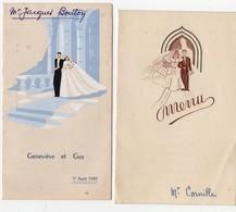 Menu 1947 Et 1949 Mariage Mariés (2 Menus) - Menú