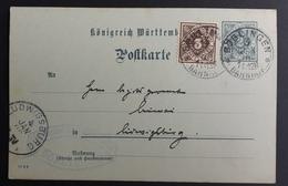 Württemberg 1906, Postkarte DP32 MiF BÖBLINGEN BAHNHOF Gelaufen LUDWIGSBURG - Wurtemberg