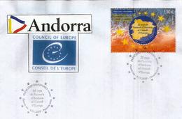 ANDORRA. CONSEIL De L'EUROPE.  25 Ième Anniversaire Entrée D'Andorre, émission Timbre Format Géant. FDC 2019 - FDC