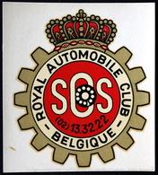 Décalcomanie Decal Autocollant Sticker ROYAL AUTOMOBILE CLUB De BELGIQUE RACB Sos - Autocollants