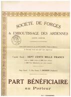 Titre Ancien - Société De Forges & Emboutissage Des Ardennes - Titre De 1923 - N° 252 - Industrie