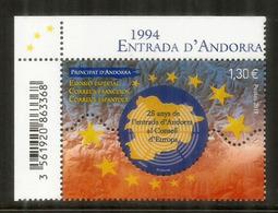 CONSEIL De L'EUROPE. 25 Ième Anniversaire Entrée D'Andorre, émission Timbre Format Géant. Entrada Andorra 1994 - Unused Stamps