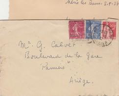 Affranchissement Composé Semeuse ¨Paix Lettre Cachet Flamme Daguin NERIS Les Bains Allier 1947 - Poststempel (Briefe)