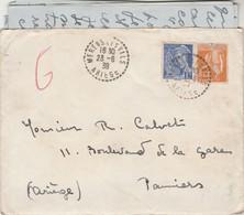 Affranchissement Composé Mercure Paix Lettre Cachet Pontillé MERENS LES VALS Ariège 23/6/1939 - Poststempel (Briefe)