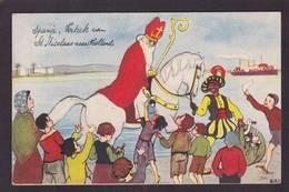 CPA Saint Nicolas Père Noël Santa Claus Nicolo Circulé Négritude - Saint-Nicolas