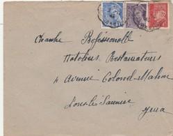 Affranchissement Composé Mercure Pétain Lettre Cachet Ambulant Convoyeur Mouchard à Lons Le Saunier 1943 - Poststempel (Briefe)