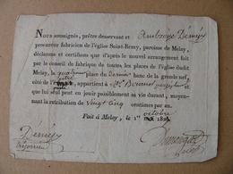 Vieux Papier MELAY Haute Marne Location à Vie D'une Place En L'église SAINT REMY 1829 25 Centimes / An - Documents Historiques