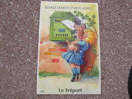 Ouvrez La Boite Et Vous Verrez  Le Treport . Carte A Systeme Petite Fille Et Chien . Timbre Taxe - Le Treport