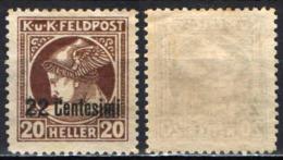 ITALIA REGNO - OCCUPAZIONE AUSTRIACA - 1918 - FRANCOBOLLO PER GIORNALI CON SOVRASTAMPA IN CENTESIMI - MH - Austrian Occupation