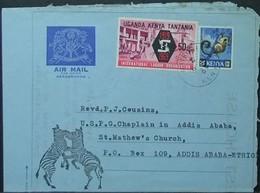 Kenya Uganda Tanzania - Aerogramme Cover To Ethiopia 1969 ILO Fauna Monkey Zebra - Kenya, Uganda & Tanzania