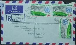 Kenya Uganda Tanzania - Registered Cover To England 1973 WMO Meteorological Rocket - Kenia (1963-...)