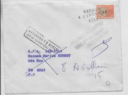 1968 - PREOBLITERE OBLITERATION RETOUR à L'ENVOYEUR - ENVELOPPE => GRAY (HTE SAONE) - INCONNU à L'APPEL Des PREPOSES - 1961-....