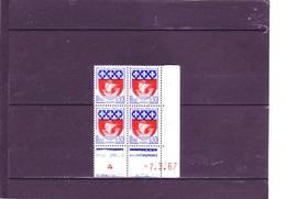 N° 1354B - 0,30 Blason De PARIS - CC De CC+CD - Tirage Du 31.1.67 Au 5.4.67 -7.03.1967 - - Coins Datés