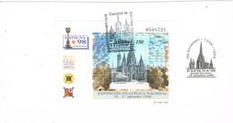 36633. Tarjeta Recorte Documento Filatelico BARCELONA 1998. EXFILNA. Catedral De Barcelona - 1991-00 Cartas