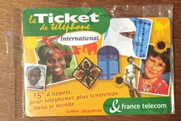 TICKET TÉLÉPHONE INTERNATIONAL 15 EURO SPÉCIMEN NEUF SOUS BLISTER PRÉPAYÉE PREPAID CARTE TÉLÉPHONIQUE - FT