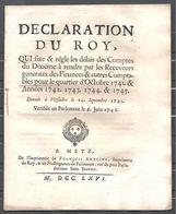 Déclaration Du Roy Du 6 Juin 1746   16 Pages - Decrees & Laws
