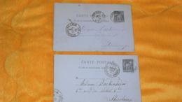 LOT DE 2 CARTES POSTALES ANCIENNES DE 1882 ET 1884../ CACHETS NANCY ET NANCY GARE POUR STRASBOURG..+ TIMBRE ENTIER - 1877-1920: Période Semi Moderne