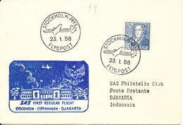 Sweden First SAS Regular Flight Stockholm - Copenhagen - Djakarta 23-1-1958 - Suède