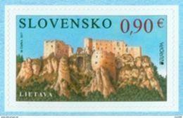 Slovaquie 2017 EUROPA Non Dentelé Auto Adhésif Château De LIETAVA - Slowakische Republik
