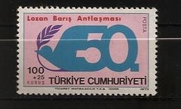 Turquie Türkiye 1973 N° 2059 ** Traité De Paix De Lausanne, Colombe, Laurier, WW1, Empire Ottoman, Sèvres, Arménie Grèce - 1921-... République