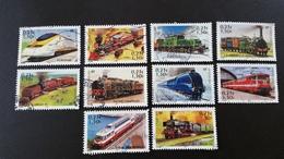 """France Timbres Oblitérés N° 3405 à 3414  -série Complète - Année 2001 - """"Légende Du Rail : Locomotives """" - Francia"""