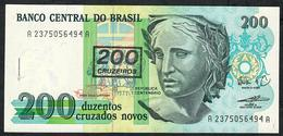 BRAZIL P225b 200 CRUZEIROS/200 CRUZADOS NOVOS 1990 #A2375 UNC. - Brasile