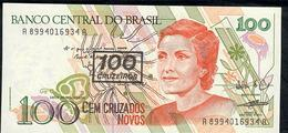 BRAZIL P224b 100 CRUZEIROS/100 C.N.  # A8994   Signature 27(1990) - Brasile