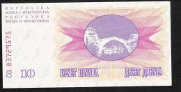 BOSNIA HERZEGOVINA   P10  10  DINARA    1992   UNC. - Bosnia Y Herzegovina