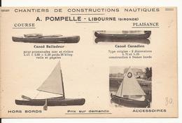 CPA PUBLICITAIRE 33 LIBOURNE CHANTIERS DE CONSTRUCTION NAUTIQUE A. POMPELLE - Libourne