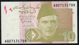 PAKISTAN P45o 10 RUPEES 2017 Prefix AQD     UNC. - Pakistan