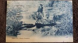 CPA GUINEE FRANCAISE AFRIQUE NOIRE CHUTE D EAU HOMME ET SON CHIEN CHAPEAU COLONIAL 1928 - French Guinea