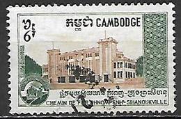 CAMBODGE   -    1970  .   Y&T N° 229 Oblitéré.   Chemins De Fer  /  Gare - Cambodge