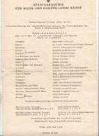 """1940, STAATSAKADEMIE Für MUSIK Und DARSTELLENDE KUNST Programm Schlussaufführung """"Die Zauberflöte"""" - Programma's"""