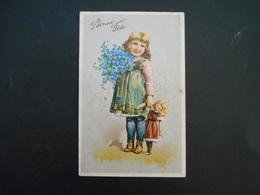 Petite Fille Aux Habits Rapiécés Avec Poupée Et Gros Bouquet De Myosotis - Gaufrée - Série 5963 - Enfants