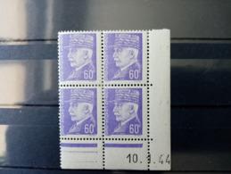 FRANCE.1944.N° 509.  PETAIN  . Bloc De 4 COIN Daté 44 NEUF++ Côte Yvert 12 €. - 1940-1949