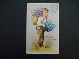 Petit Garçon Habits Rapiécés Portant Une Hotte Pleine De Violettes Et Myosotis Dans Son Chapeau - Gaufrée - Série 5963 - Enfants