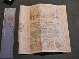STAD ANTWERPEN - LENING VAN 183.440.000 1887 - TITRE EMIS APRES LE 6/10/44 - Shareholdings