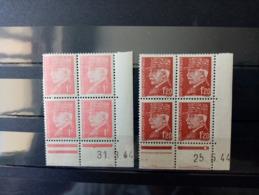 FRANCE.1944.N°514.515 .2 Blocs Coins Datés 44. NEUFS++. Côte Yvert 12 €. - 1940-1949