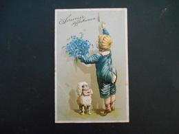 Petit Garçon Avec Bouquet De Myosotis Et Petit Chien Blanc Avec Lettre Essayant De Tirer Sonnette - Gaufrée - Série 5963 - Enfants
